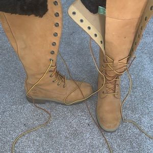 Knee high timberland boots with fur